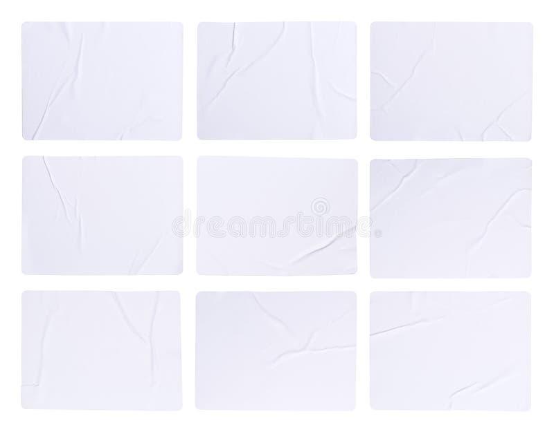 Lege die etiketstickers op wit worden geïsoleerd royalty-vrije stock afbeeldingen