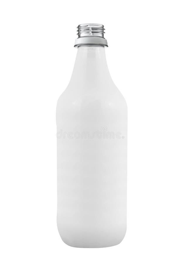 Lege die glasfles op wit wordt geïsoleerd royalty-vrije stock afbeeldingen