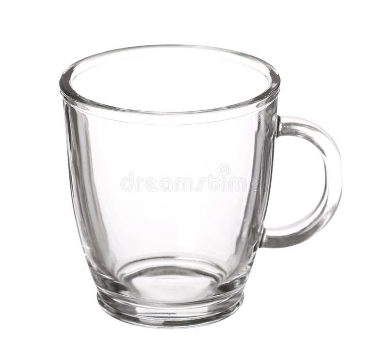 Lege die glaskop thee met handvat op witte achtergrond wordt geïsoleerd stock foto