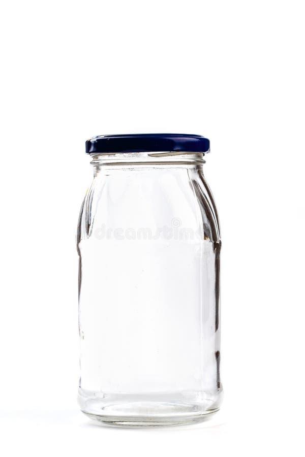 Lege die glaskruik voor behoud, op witte achtergrondafbeelding wordt geïsoleerd vector illustratie