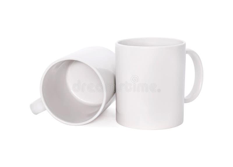 Lege die koffiemok op witte achtergrond wordt ge?soleerd Malplaatje van drankkop voor uw ontwerp Knippende wegen of verwijderd vo stock foto's