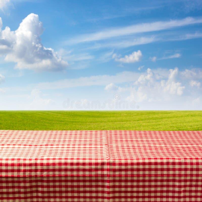 Lege die lijst met gecontroleerd tafelkleed over groene weide en blauwe hemel wordt behandeld royalty-vrije stock foto