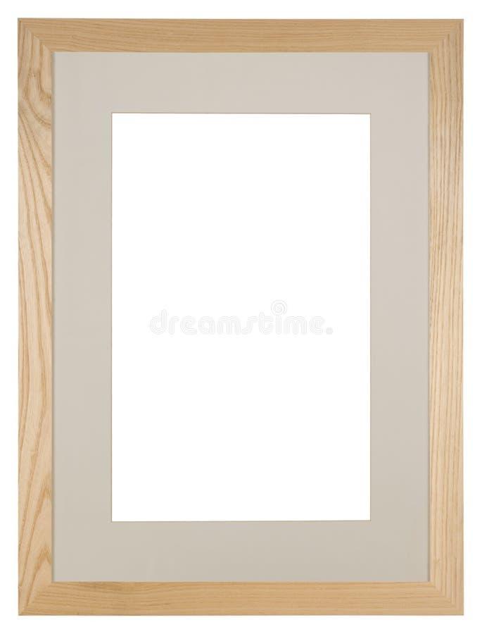 Lege die omlijsting op witte, lichte eik wordt geïsoleerd royalty-vrije stock foto