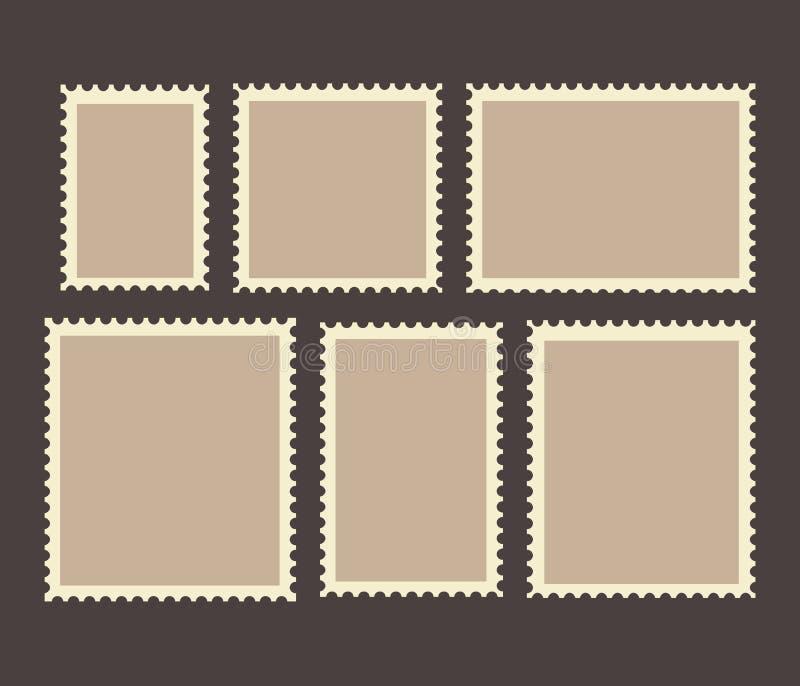 Lege die Postzegelskaders op achtergrond worden geplaatst Vector illustratie royalty-vrije illustratie