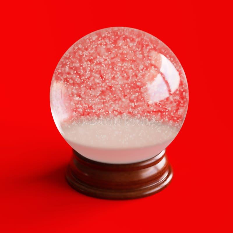 Lege die sneeuwbol op rood wordt geïsoleerd royalty-vrije stock afbeelding