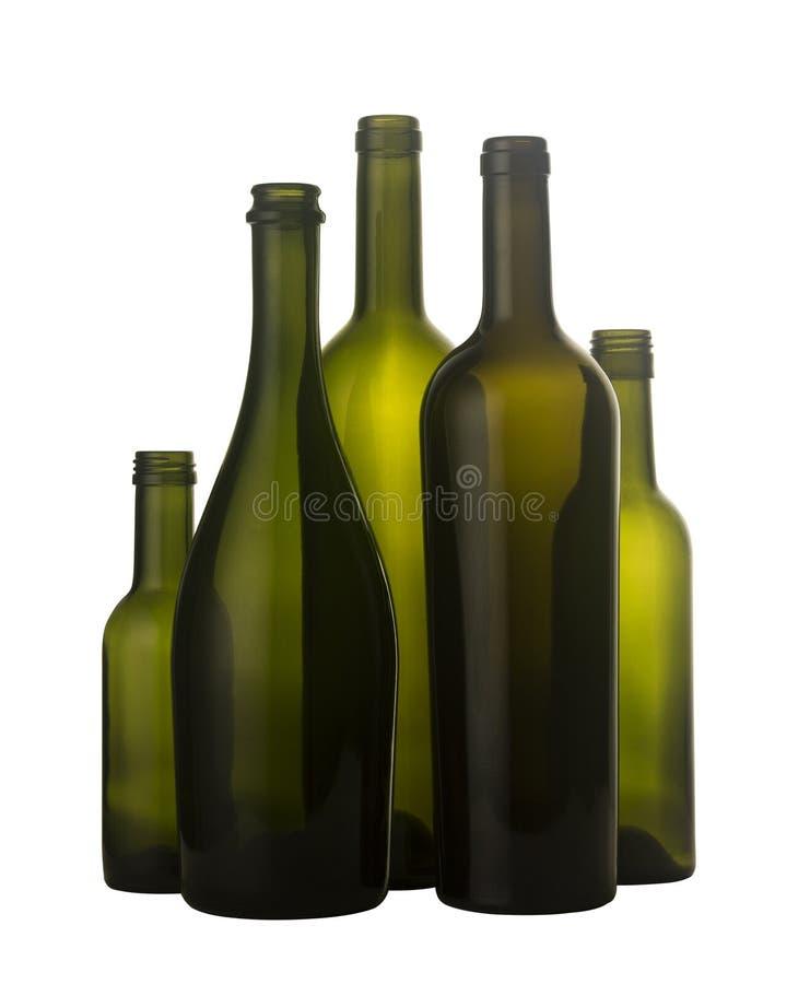 Lege die wijnflessen op wit worden geïsoleerd royalty-vrije stock fotografie