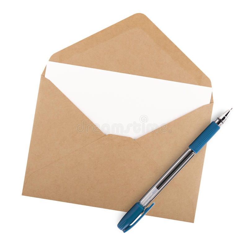 Lege document, envelop en pen royalty-vrije stock afbeelding