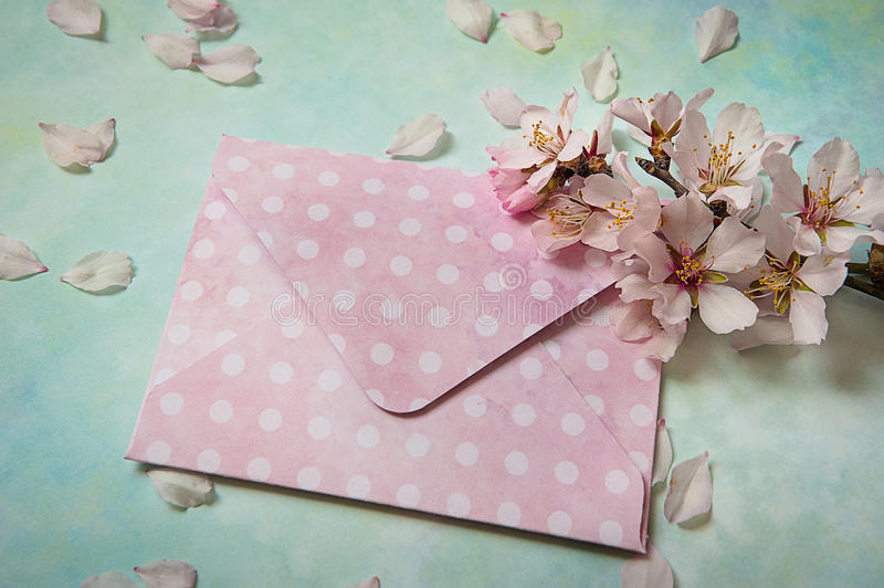 Lege document envelop met de lente bloeiende tak op Abstracte blauwgroene lijst stock fotografie