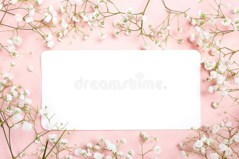 Lege document kaart met gevoelige kleine witte bloemen op roze rug stock foto's