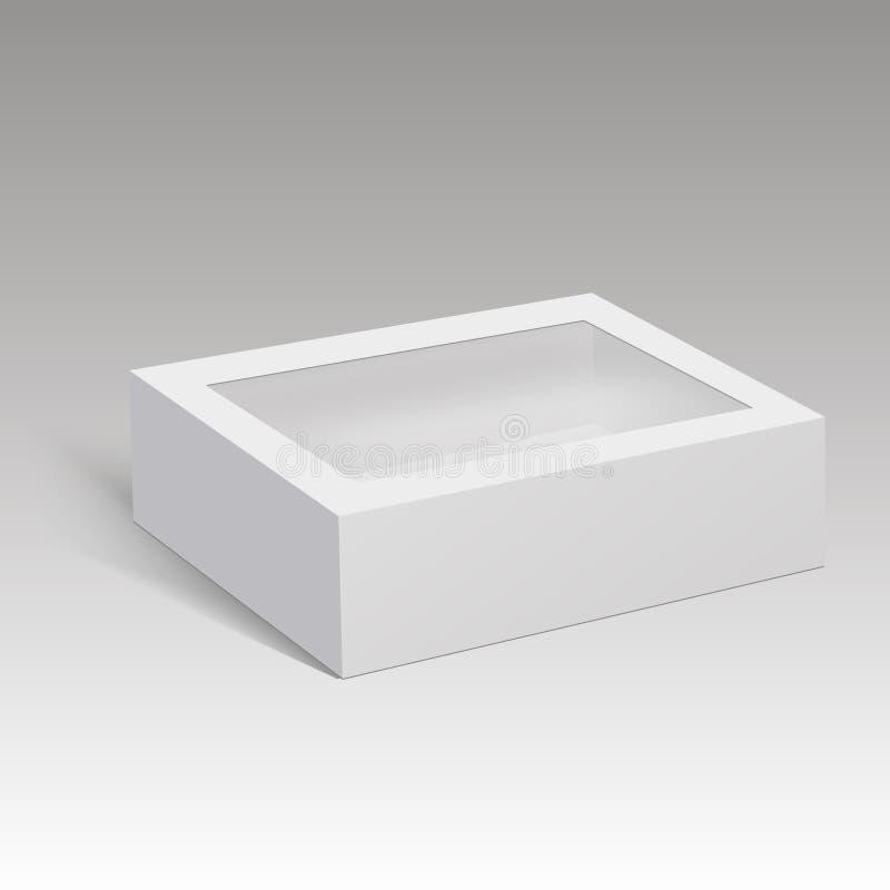 Lege document vakje verpakking voor sandwich, voedsel, gift of andere producten met plastic venster Vector illustratie vector illustratie