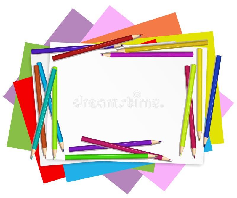 Lege documenten met kleurrijke potloden stock illustratie