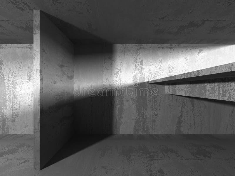 Lege donkere abstracte concrete ruimte binnenlandse architectuur vector illustratie