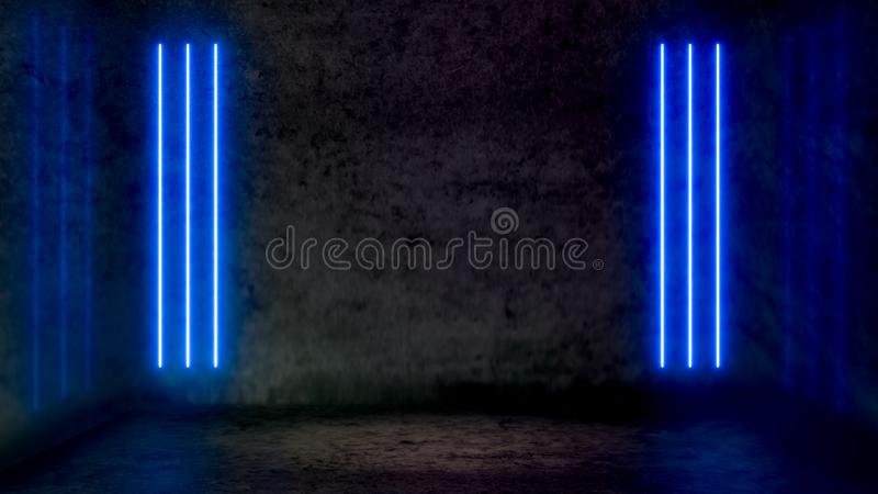 Lege donkere abstracte ruimte met blauwe fluorescente neonlichten vector illustratie