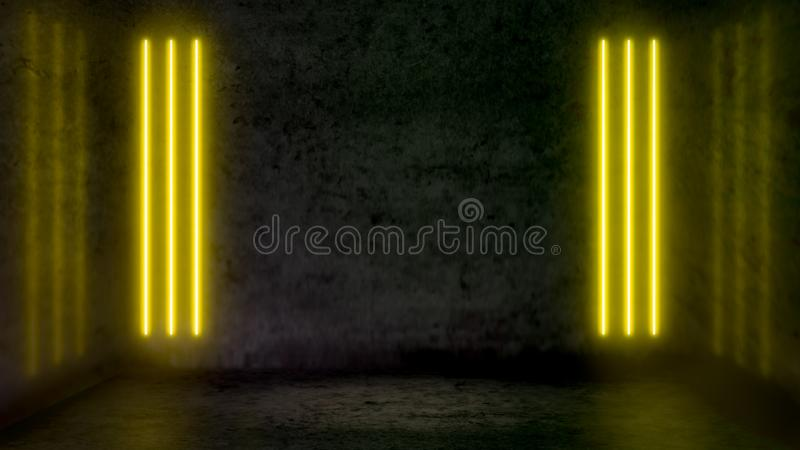 Lege donkere abstracte ruimte met gele fluorescente neonlichten royalty-vrije illustratie
