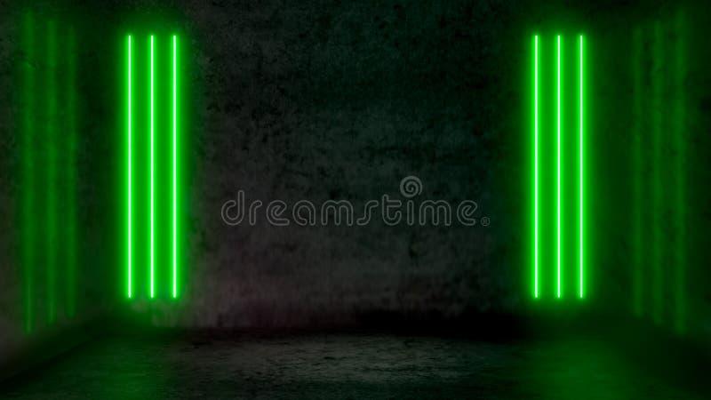 Lege donkere abstracte ruimte met groene fluorescente neonlichten stock illustratie