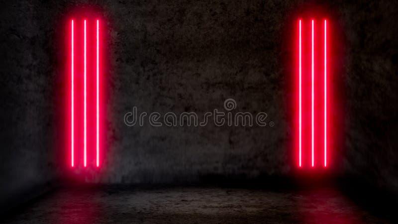 Lege donkere abstracte ruimte met rode fluorescente neonlichten royalty-vrije illustratie