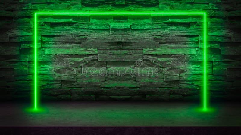 Lege donkere steenlijst met de groene fluorescente lichten van de neonlaser royalty-vrije illustratie