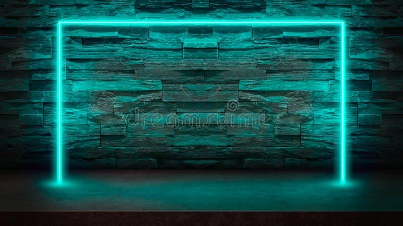 Lege donkere steenlijst met de laserlichten van het pastelkleur blauwe fluorescente neon royalty-vrije illustratie