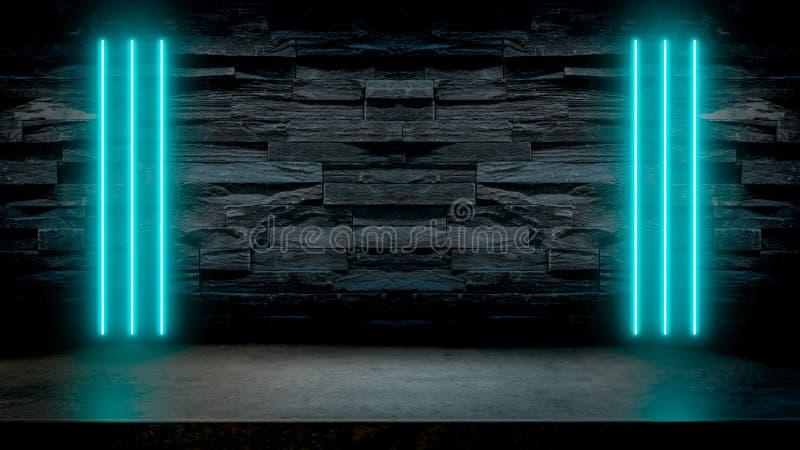 Lege donkere steenlijst met pastelkleur blauwe fluorescente neonlichten vector illustratie