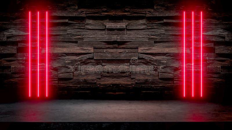 Lege donkere steenlijst met rode fluorescente neonlichten stock illustratie