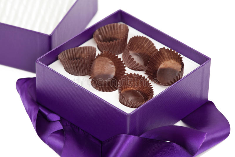 Lege doos fijne chocolade stock afbeeldingen