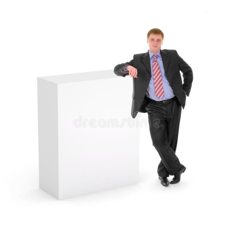 Lege doos met de bedrijfsmens stock foto