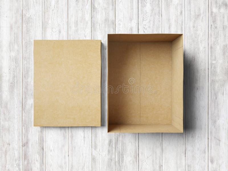Lege doos op het hout royalty-vrije stock fotografie