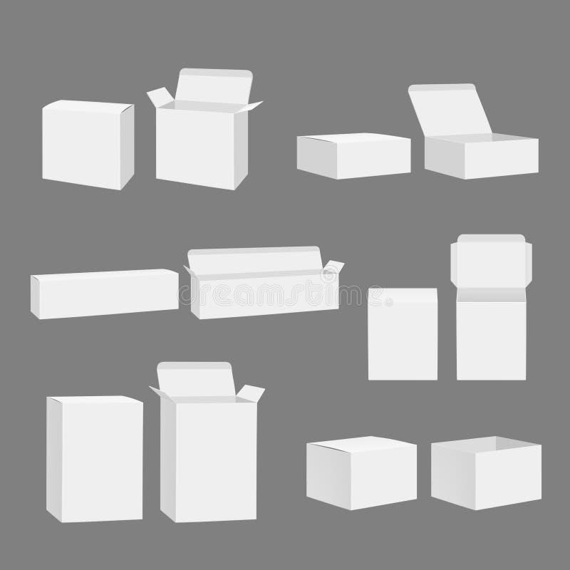 Lege dozen Open gesloten van de de pakkettenopslag van de karton wit gift geïsoleerd het model vector realistisch malplaatje vector illustratie