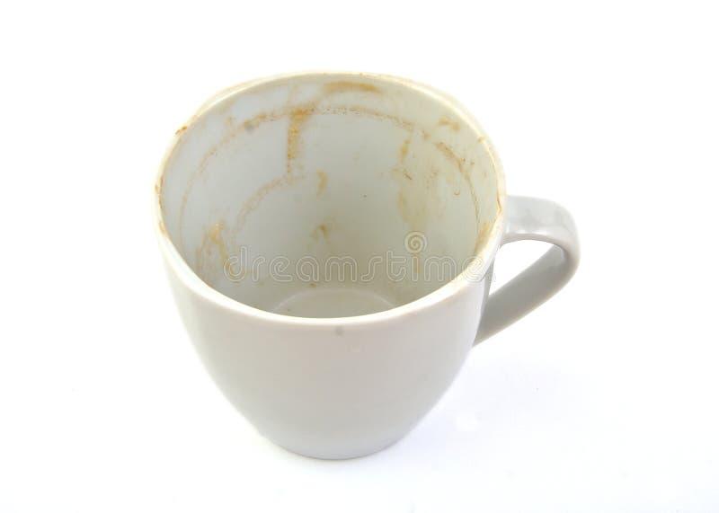 Lege en vuile koffiekop royalty-vrije stock afbeeldingen