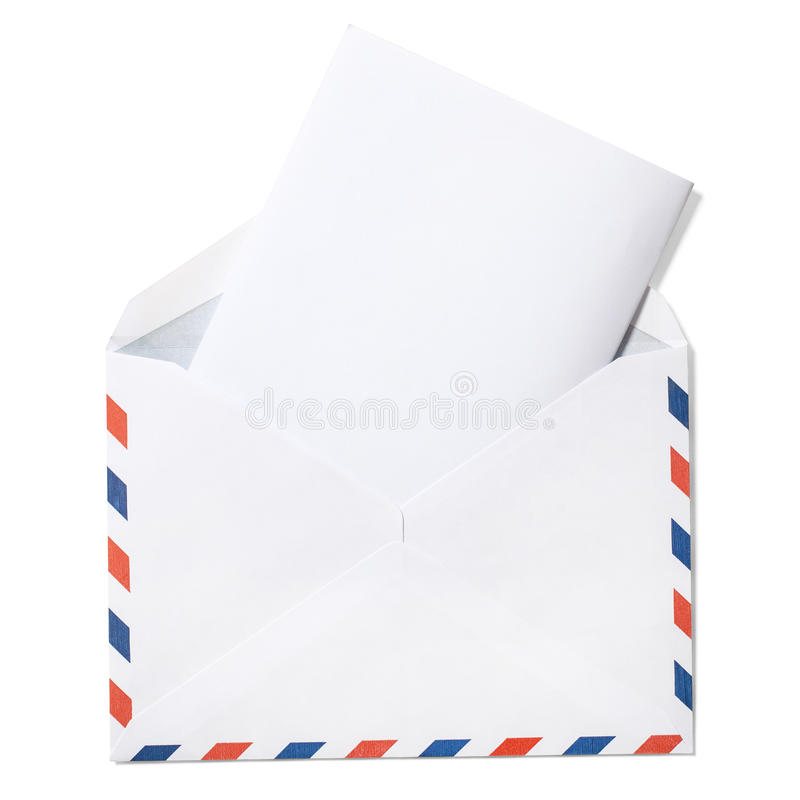 Lege Envelop met Brief en het knippen weg stock fotografie