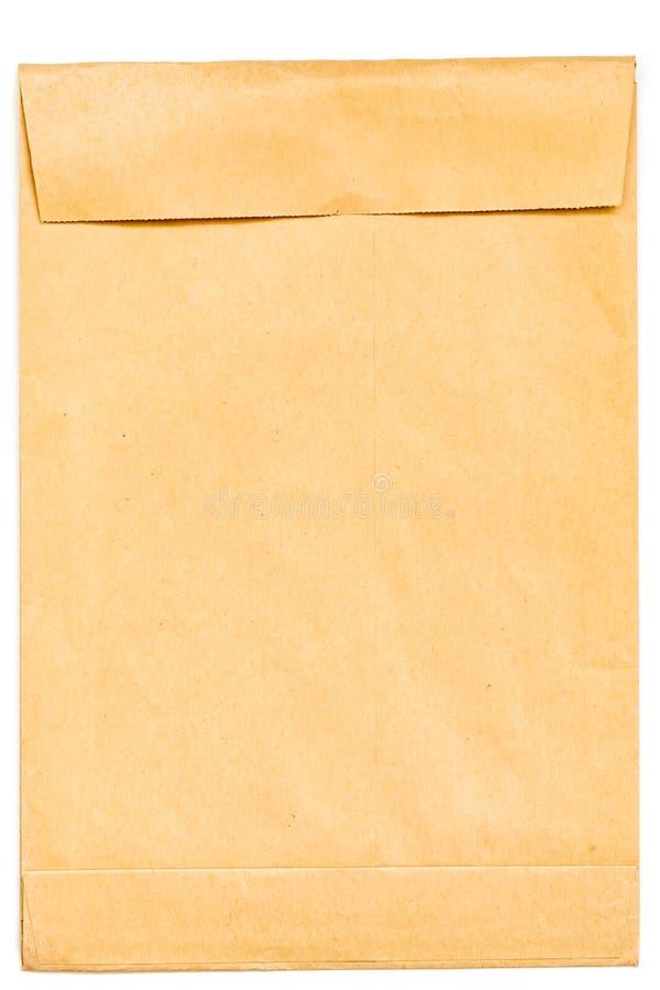 Lege envelop van kraftpapier-document op een witte achtergrond Het concept post, brieven, berichten stock foto