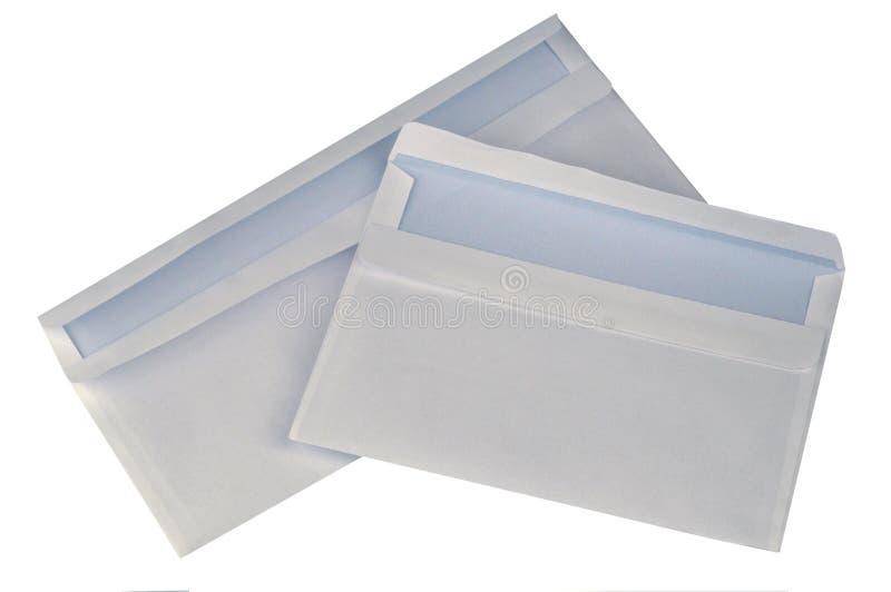Lege enveloppen op een witte achtergrond stock foto's