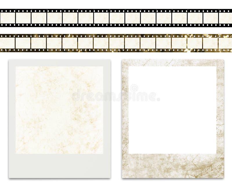 Lege filmstrepen en lege onmiddellijke fotoframes stock illustratie