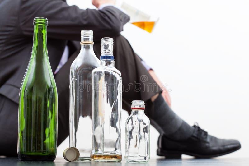 Lege flessen alcohol royalty-vrije stock fotografie
