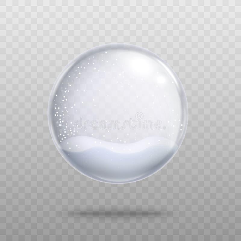 Lege geïsoleerde Kerstmis snowglobe 3d realistische vectorillustratie van het kristalglas stock illustratie