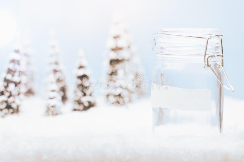 Lege geldkruik in het landschap van de sneeuwwinter royalty-vrije stock foto's