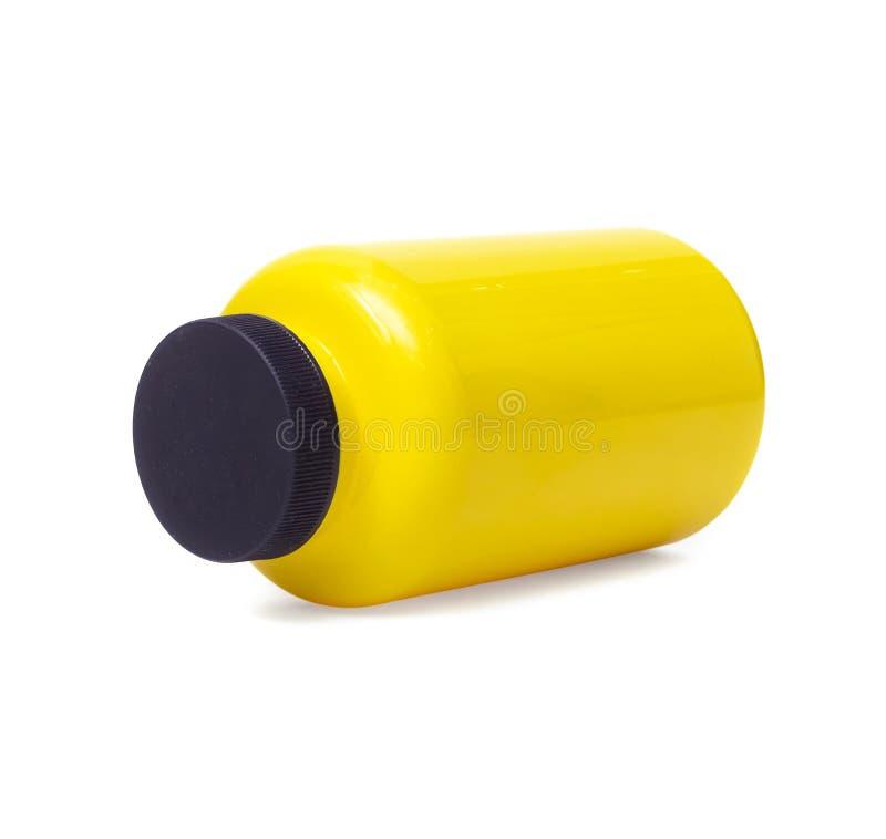 Lege gele fles Sportenvoeding royalty-vrije stock afbeeldingen