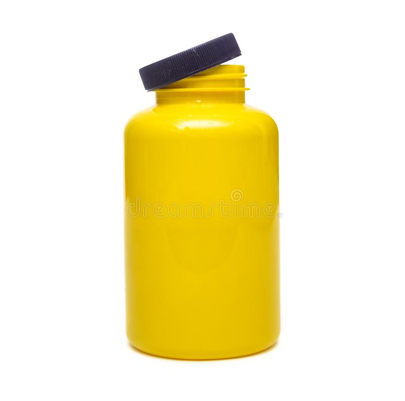 Lege gele fles Sportenvoeding royalty-vrije stock foto