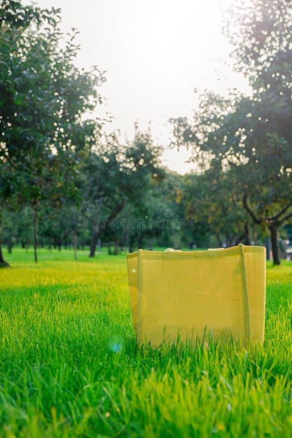 Lege gele jute het winkelen zak op groen gras in Apple-boomgaard in aard royalty-vrije stock afbeelding