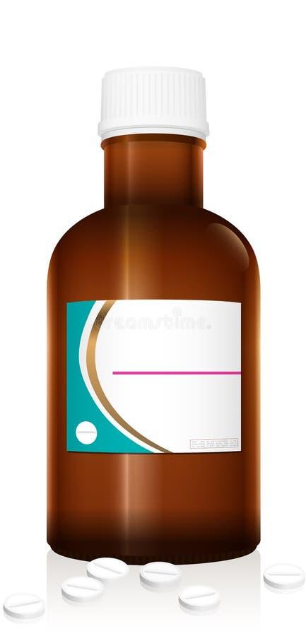 Lege Geneeskundefles Vial With Tablets Zonder etiket vector illustratie