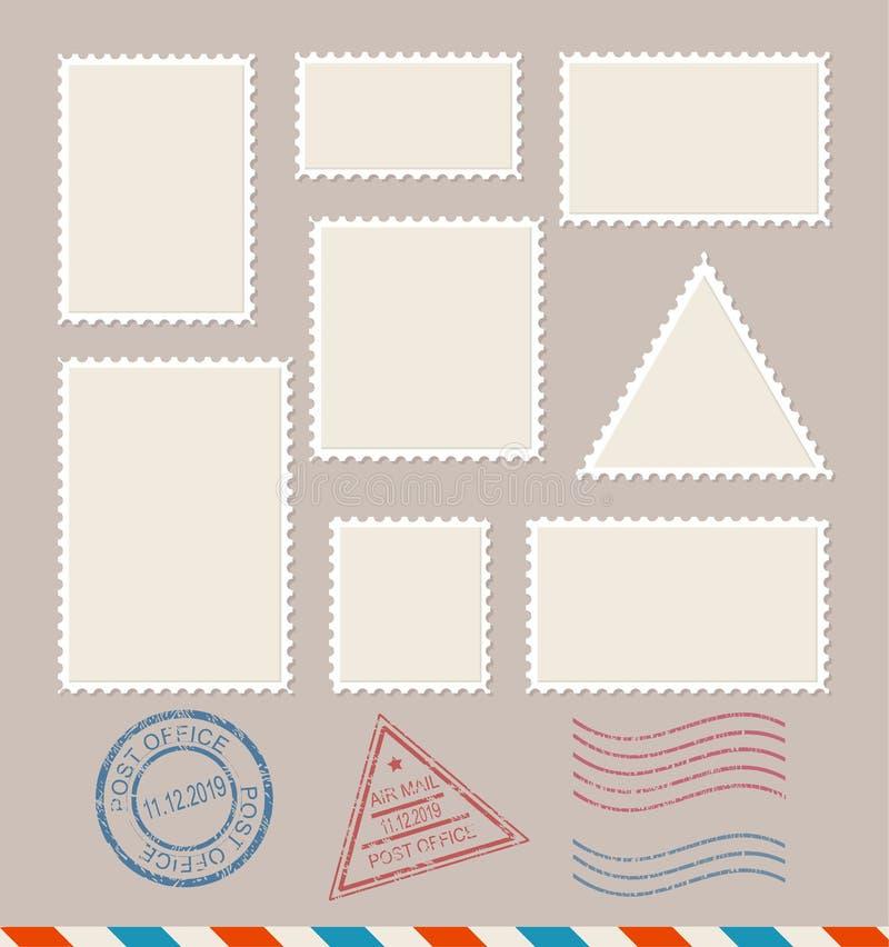 Lege Geplaatste Malplaatje Lege Postzegels Vector stock illustratie