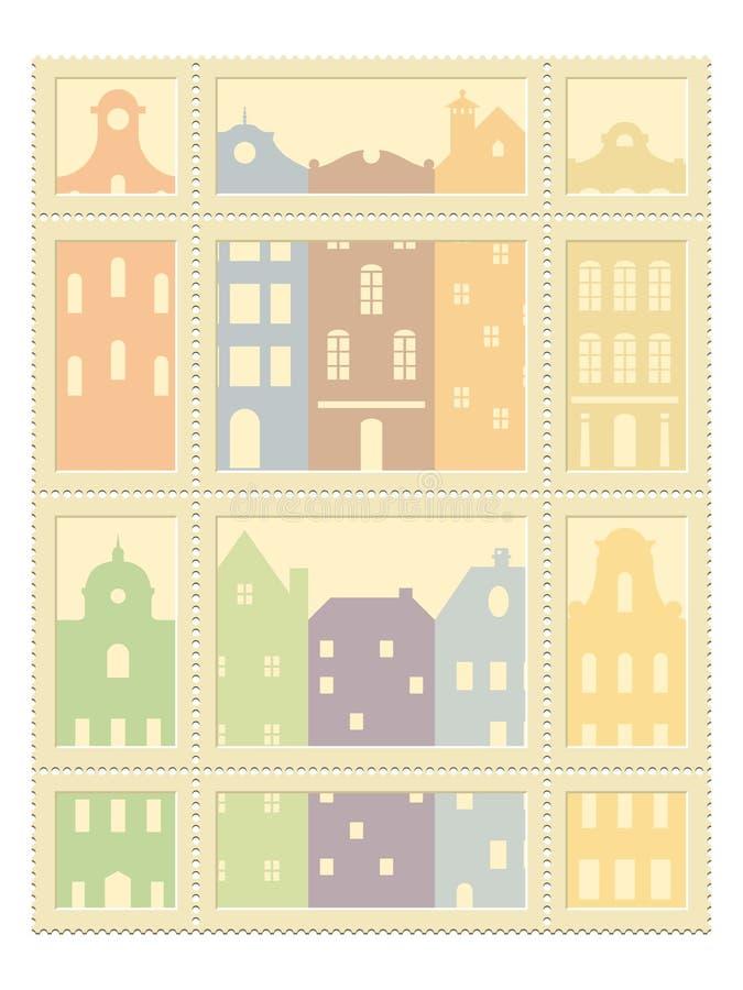 Lege geplaatste postzegels royalty-vrije illustratie