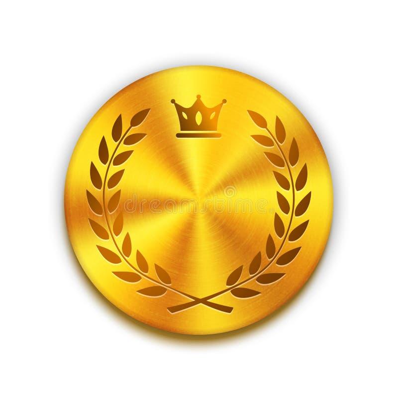 Lege geweven gouden metaalknoop met kroon en stock illustratie