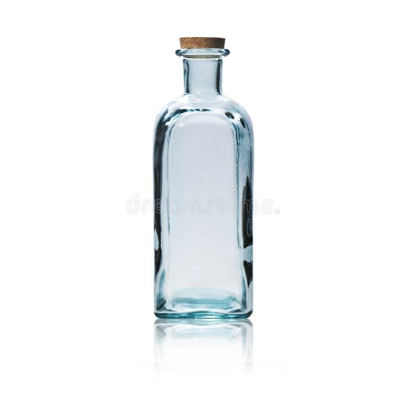 Lege glasfles met cork kurk. royalty-vrije stock fotografie