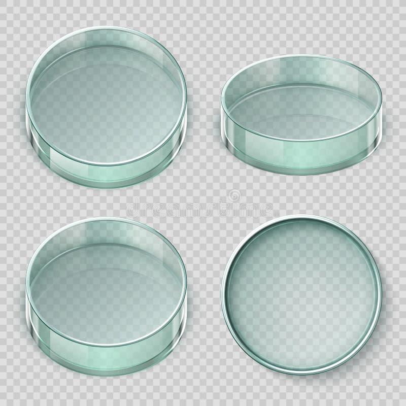 Lege glaspetrischaal De schotels vectordieillustratie van het biologielaboratorium op transparante achtergrond wordt geïsoleerd stock illustratie