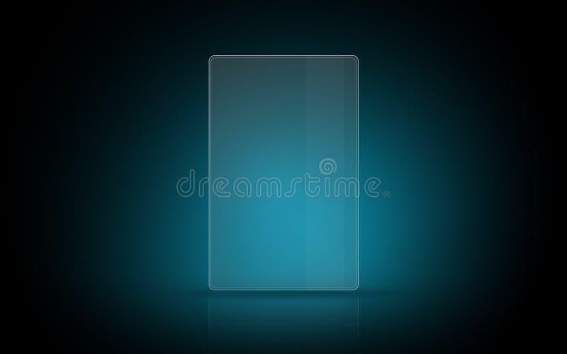 Lege gloeiende virtuele tablet of het digitale scherm stock illustratie
