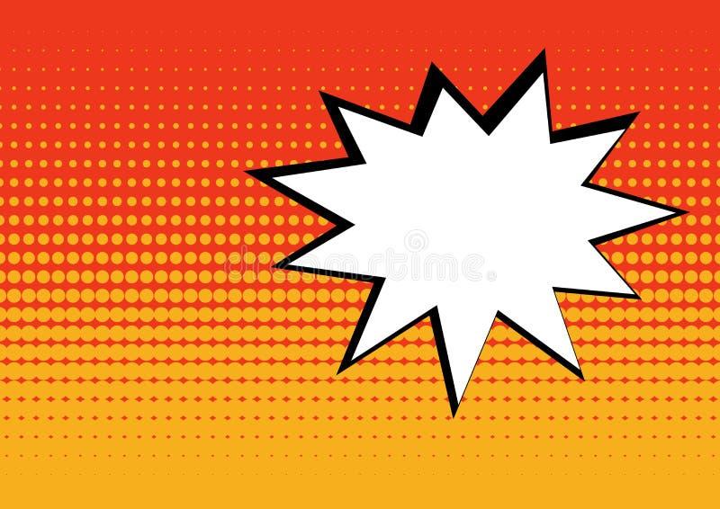 Lege grappige toespraakbel op rode en oranje achtergrond in pop-artstijl Vector illustratie vector illustratie