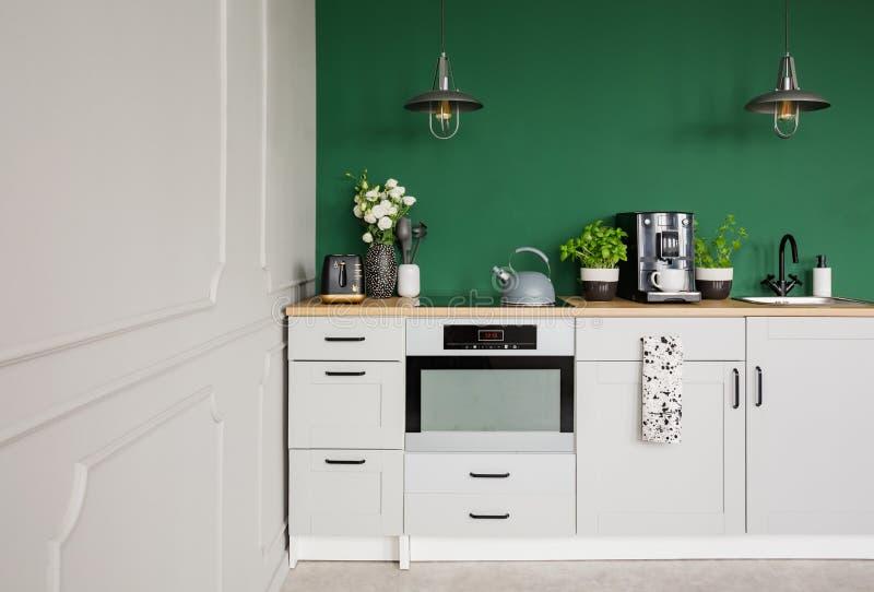 Lege groene muur met exemplaarruimte in elegante keuken met witte meubilair, installaties en koffiemachine stock afbeeldingen
