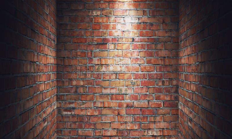 Lege grungy ruimte met rode bakstenen muurimpasse en schijnwerper 3d stock illustratie
