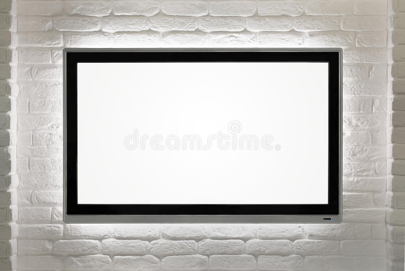 Lege HD-TV bij de muur stock afbeelding